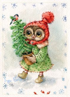 20 Amazing Owl Drawings In Different Mediums to Draw - The Things to Draw Journey Christmas Bird, Christmas Drawing, Christmas Animals, Retro Christmas, Christmas Pictures, Cartoon Clip, Owl Cartoon, Owl Always Love You, Beautiful Owl