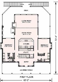 Cottage Style House Plan - 3 Beds 3 Baths 2398 Sq/Ft Plan #140-130 Floor Plan - Main Floor Plan - Houseplans.com