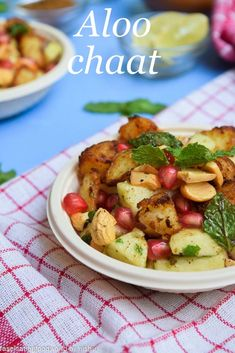 Aloo chaat- Indian spicy and tangy potato salad.  #indian #vegetarian #recipes #salad #potatoes
