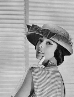 Kouka Denis in hat by Rose Valois and dress by Carven, photo by Georges Saad, 1956