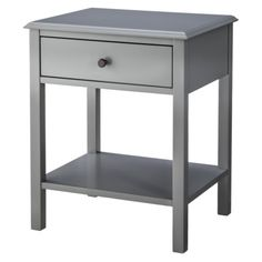 Threshold™ Windham Side Table in gray on each side of bed.