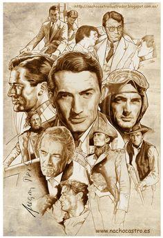 """Gregory Peck, illustration from the book """"Hombres de Hollywood"""".Nacho Castro.Diábolo ediciones"""