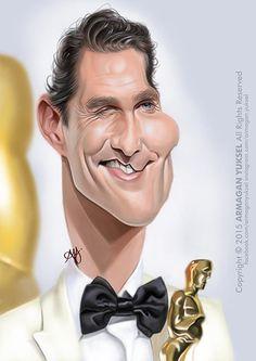 Caricatura del actor Matthew McConaughey realizada por el artista Armagan Yuksel.