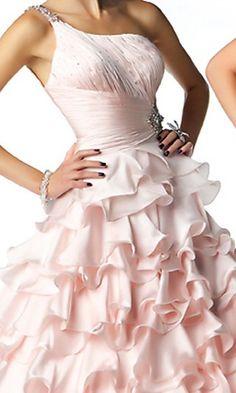 A-Line Tulle One-Shoulder Long Dress
