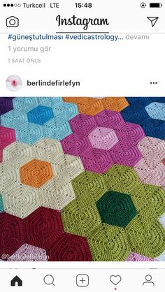 Hexagon Crochet Pattern, Crochet Square Patterns, Crochet Blanket Patterns, Baby Blanket Crochet, Crochet Motif, Crochet Designs, Crochet Waffle Stitch, Crochet Bedspread, Bunt