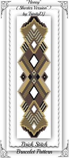 BPBR019 Honey Brick Stitch Bracelet Pattern by TrinityDJ