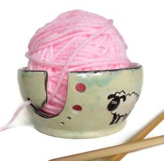Sheep  Yarn Bowl Green WhiteYarn Holder by RisingStarPottery1, $40.00