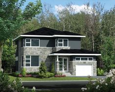 This craftsman design floor plan is 2452 sq ft and has 4 bedrooms and has bathrooms. Contemporary Style Homes, Contemporary Design, Surface Habitable, Craftsman Style House Plans, Large Homes, Facade, Beautiful Homes, Sweet Home, Floor Plans
