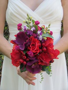 Red Rose and Purple Orchid Bridal Bouquet by justanns on Etsy, $40.00