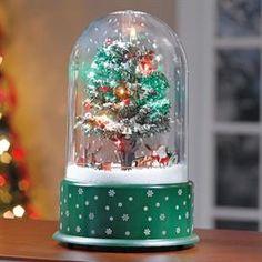 Santa and Reindeer Musical Tabletop Snow Globe
