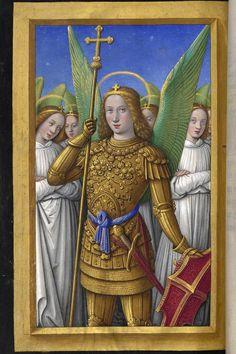 Archangel Gabriel, Book of Hours of Anne of Bretagne, century Medieval Books, Medieval Manuscript, Medieval Art, Renaissance Art, Illuminated Manuscript, Saint Michael, Archangel Gabriel, Archangel Michael, Catholic Art