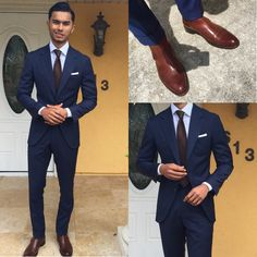 Crisp navy suit goes a long way. this combo includes brown chelsea boots light blue shirt brown tie white pocket square. Business Outfit, Business Dresses, Business Suits, Business Casual, Mens Fashion Suits, Mens Suits, Mens Jogging Suits, Teaching Mens Fashion, Terno Slim
