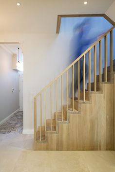 A new staircase and playful mezzanine loft added to a Victorian cottage. Interior Stair Railing, Staircase Handrail, New Staircase, Wood Railing, Banisters, Staircase Design, Office Under Stairs, Modern Stairs, House Stairs