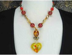 1/KIND Romantic Necklace w/ Amber, Freshwater Pearls, Coral, Citrine and Heart Pendant!