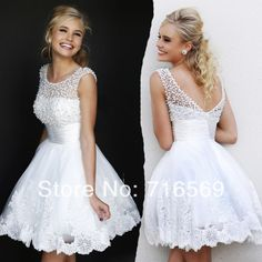 $84.99 Buy Charming A Line Jewel Collar White pearls Beaded Lace Short Mini Party Gowns Prom Dresses Sleeveless Free Shipping