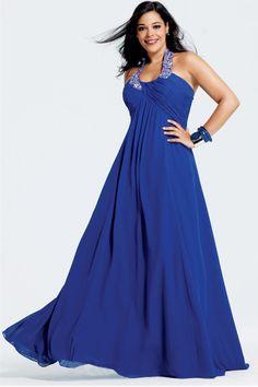 Plus Size Evening Dresses Floor Length Beading Sequins Halter A Line Ruffles Sleeveless for salemultiple colorsa available