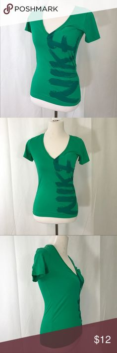 Nike Cotton Green V neck Fitted Tee Shirt Small EIC soft cotton neck with NIKE printed up the side. Size Small Bust 34 Length 25 Nike Tops Tees - Short Sleeve