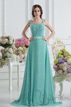 A-line Sweetheart Satin Chiffon Sweep/Brush Train Prom Dress