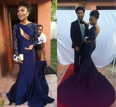 Gorgeous Navy Blue Sexy Backless Long Sleeve Lace Mermaid Long Prom Dresses, PD0232