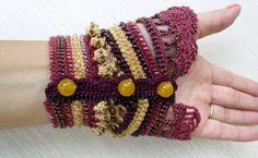 Bracelet Cuff Crochet Bracelet Cuff Beaded Cuff by SvetlanaCrochet