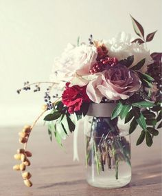 Flower arrangement in Mason jar.