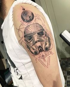 #stormtrooper #starwars #geometrictattoo #customwork #dotwork #ink #inked #blacktattoo Tv Tattoo, Guitar Tattoo, Star Wars Tattoo, Star Tattoos, Leg Tattoos, Black Tattoos, Sleeve Tattoos, Cool Tattoos, Tatoos
