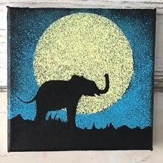 canvas painting ideas for kids \ canvas painting ideas Kids Canvas Art, Cute Canvas Paintings, Canvas Painting Tutorials, Small Canvas Art, Elephant Canvas Painting, Elephant Paintings, Canvas Painting Designs, Painting Tricks, Diy Canvas