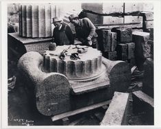 Stone masons work on what will be the top of a column made of limestone during construction of the Manitoba Legislative Building on October 5 Foote Collection Manitoba Archives Mason Work, Artist And Craftsman, Lost Art, Art And Technology, Stone Work, Going To Work, Sculpting, Carving, October 5