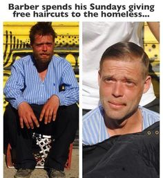 A high-end New York hair stylist Bustos spends his freetime giving free haircuts for the homeless. The transformations are crazy. He hopes it inspires more to do great things for fellow human beings. Free Haircut, The Maxx, Human Kindness, Faith In Humanity Restored, Good Deeds, Good People, Amazing People, Yorkie, In This World