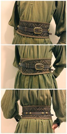 I like the obi-style belt design; a simpler version would be lovely with dresses I like the look of the green tunic and the wide brown leather and buckle.