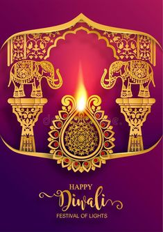 Illustration about Happy Diwali festival card with gold diya patterned and crystals on paper color Background. Illustration of happiness, hindu, culture - 126966543 Happy Diwali Pictures, Diwali Images, Diwali Wishes, New Background Images, Diwali Festival, Beautiful Rangoli Designs, Indian Elephant, Architecture Tattoo, Diwali Decorations