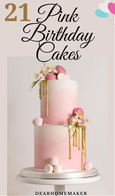 21 Beautiful Pink Birthday Cakes for Ladies | Dear Home Maker Birthday Cake For Him, Pink Birthday Cakes, Birthday Cake With Flowers, Birthday Cakes For Women, Geometric Cake, Jenny Cookies, Rosette Cake, Cupcake Recipes, Dessert Recipes