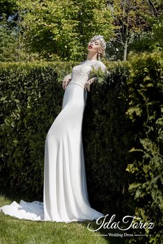 Modern Trumpet-Mermaid Illusion Natural Sweep-Brush Train Stretch Crepe Ivory Long Sleeve Open Back Wedding Dress Bowknot 01028 #weddingdresses #cocomelody  #designercololections
