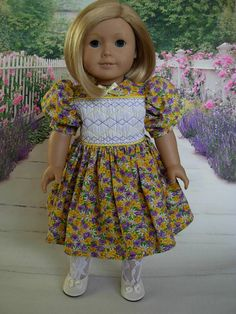 Smocked Spring Floral Dress fits American Girl Dolls by WeeWhimzyWardrobe