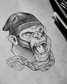 Chained Monkey Tattoo Design Best Tattoo Ideas Gallery tattoo designs gallery - Tattoos And Body Art Sketch Tattoo Design, Sketch Design, Tattoo Sketches, Drawing Sketches, Tattoo Designs, Drawing Ideas, Hai Tattoos, Body Art Tattoos, Cool Tattoos