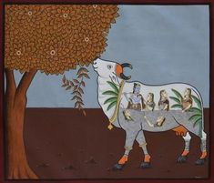 Cow Under Tree – Artisera India Painting, Peacock Painting, Music Painting, Cow Painting, Krishna Painting, Krishna Art, Shree Krishna, Silk Painting, Madhubani Art