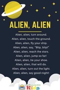 A super-fun action rhyme! Perfect for this year's Universe of Stories summer reading theme! Space Theme Preschool, Space Activities, Preschool Music, Preschool Lesson Plans, Songs For Toddlers, Kids Songs, Rhymes Songs, Space Songs For Kids, Space Theme For Toddlers
