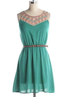 Get prepped for summer in this teal dress with embroidered top and matching belt. Elastic waist. NOTE: Fits slightly small at bust--see measurements. 100% rayon Not stretchy Not lined Hand wash cold; Hang dry Indie, Retro, Party, Vintage, Plus Size, Convertible, Cocktail Dresses in Canada NEW: Country Carnival Dress -