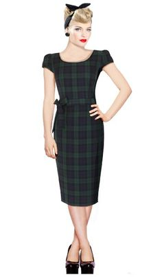 4ad23552 Black Watch Green Tartan Wiggle Pencil Dress Vintage Rockabilly Pin Up  Party. Limited Edition & made in the UK by British Re.