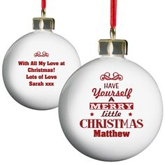 Personalised Have Yourself A Merry Little Christmas Bauble  from Personalised Gifts Shop - ONLY £10.99