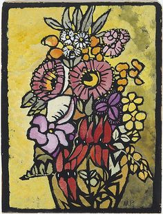 Australian artist Margaret Preston, Stencil print, from one hand-cut paper stencil, using color gouache. Margaret Rose, Margaret Preston, Henri De Toulouse Lautrec, Australian Painters, Australian Artists, Gustav Klimt, Stencil Printing, Oriental, Collaborative Art