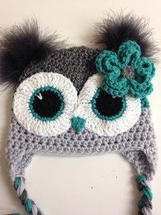 Grey and Aqua Teal Owl Hat от MarysMoxee на Etsy Crochet Animal Hats, Crochet Owl Hat, Crochet Kids Hats, Crochet Cap, Crochet Gifts, Knitted Hats, Funky Hats, Baby Kind, Crochet Accessories