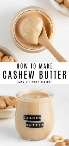 How to make the BEST homemade cashew butter! It's creamy healthy vegan and so easy to make. Just blend roasted cashews to create this nut butter. Spread it on toast oatmeal baked goods and smoothie bowls! Vegan Breakfast Recipes, Vegan Snacks, Snack Recipes, Cooking Recipes, Vegan Food, Healthy Recipes, Cashew Recipes, Dairy Free Recipes, Cashew Butter