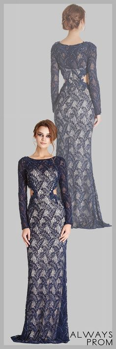 Floor Length and Sheath Shape, Beading and Gemstone Embellished Lace Overlaid Evening Dress has Side Cutouts, Bateau Neckline, Semi Sheer Back featuring Zipper Closure and Full Length Sleeves.  #longpromdress #eleganteveningdresses #onlinestorealwaysprom #dressbyalwaysprom
