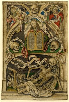 * Allegory of the Transience of Life Engraving with hand colour made by Master IAM of Zwolle, Netherland, 1480-1490 (c.).