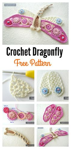 Crochet libélula Applique Free Pattern