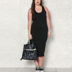 Plus Size Sexy Solid Color Sleeveless Knit Dress - Club Dresses Fashion Plus Size Spring Dresses, Casual Dresses Plus Size, Spring Dresses Casual, Plus Size Casual, Large Size Dresses, Casual Outfits, Dress Casual, Bodycon Dress Formal, Plus Size Bodycon Dresses