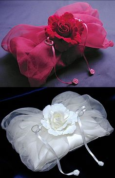 ateliersarah's ring pillow/Silk organdy and roses 2colors