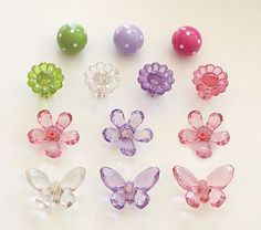 Acrylic drawer pulls for dresser - butterfly and flower