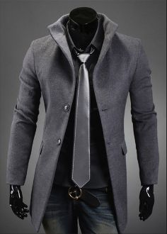 Men's High Collar Coat with Back Leather Details